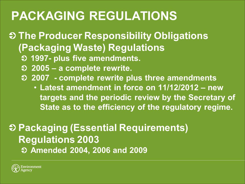 PACKAGING REGULATIONS The Producer Responsibility Obligations (Packaging Waste) Regulations 1997- plus five amendments.