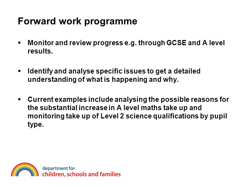 Forward work programme  Monitor and review progress e.g. through GCSE and A level results.  Identify and analyse specific issues to get a detailed u