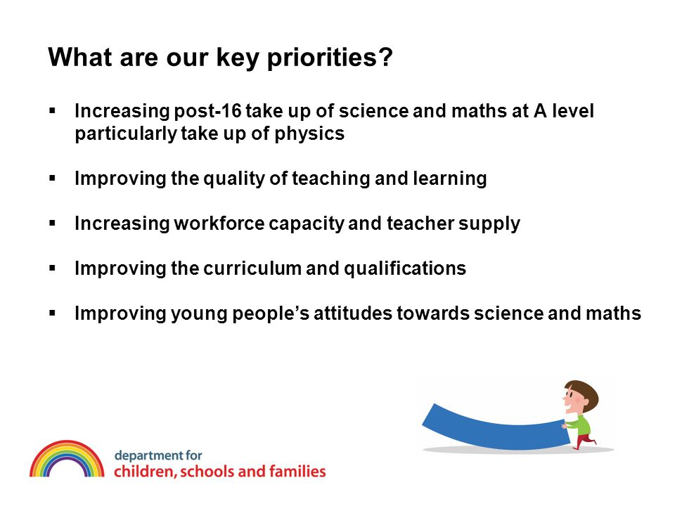 What are our key priorities?  Increasing post-16 take up of science and maths at A level particularly take up of physics  Improving the quality of t