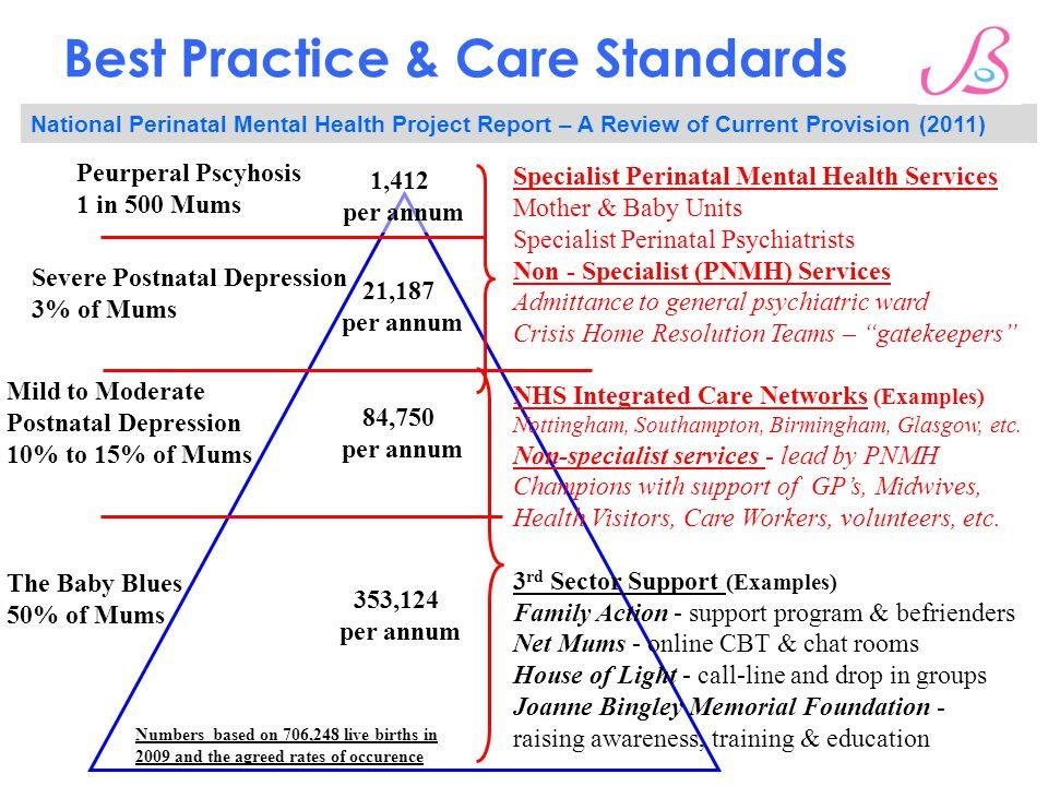 Best Practice & Care Standards The Baby Blues 50% of Mums Severe Postnatal Depression 3% of Mums Mild to Moderate Postnatal Depression 10% to 15% of M