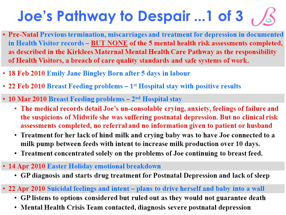 Joe's Pathway to Despair...1 of 3 Pre-Natal Previous termination, miscarriages and treatment for depression in documented in Health Visitor records – BUT NONE of the 5 mental health risk assessments completed, as described in the Kirklees Maternal Mental Health Care Pathway as the responsibility of Health Visitors, a breach of care quality standards and safe systems of work.