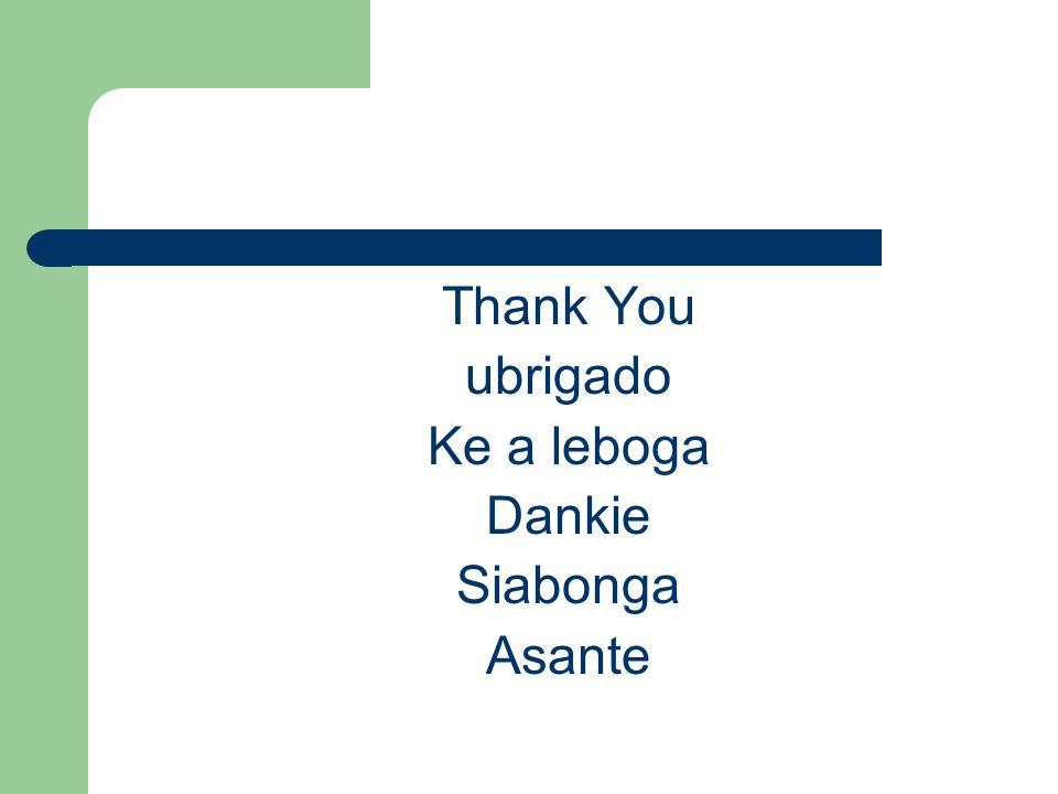 Thank You ubrigado Ke a leboga Dankie Siabonga Asante