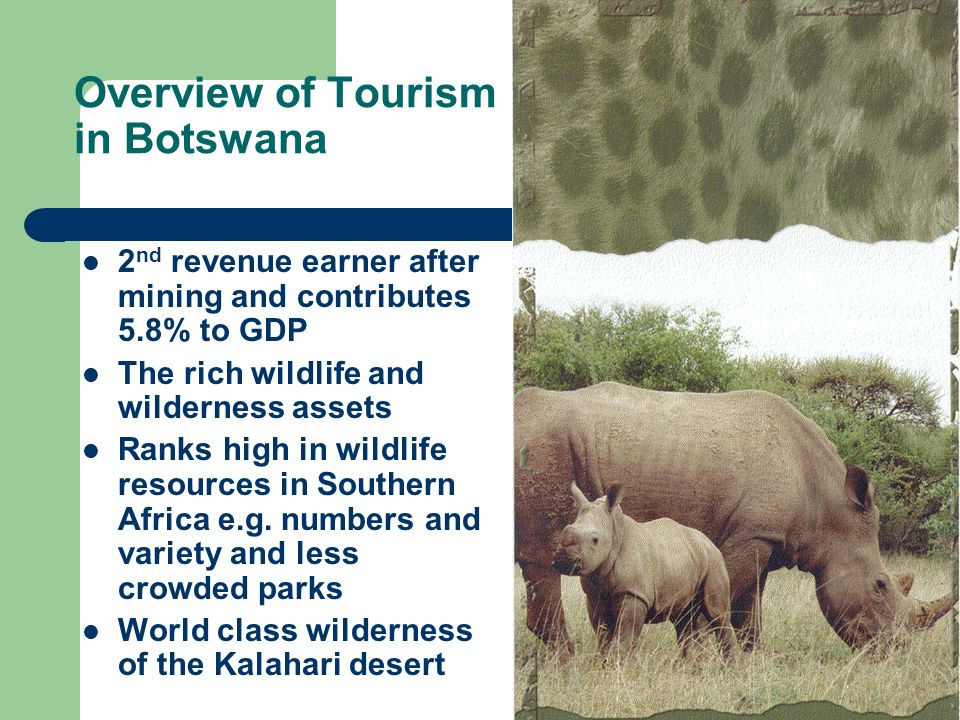 Overview of Tourism in Botswana 2 nd revenue earner after mining and contributes 5.8% to GDP The rich wildlife and wilderness assets Ranks high in wildlife resources in Southern Africa e.g.