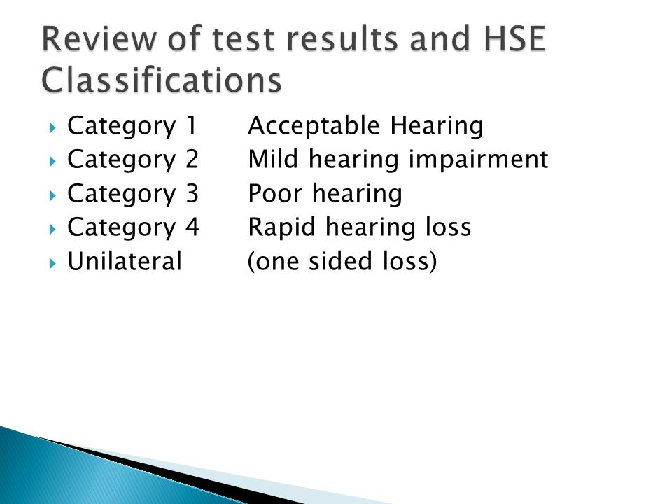  Category 1 Acceptable Hearing  Category 2 Mild hearing impairment  Category 3 Poor hearing  Category 4 Rapid hearing loss  Unilateral (one sided loss)
