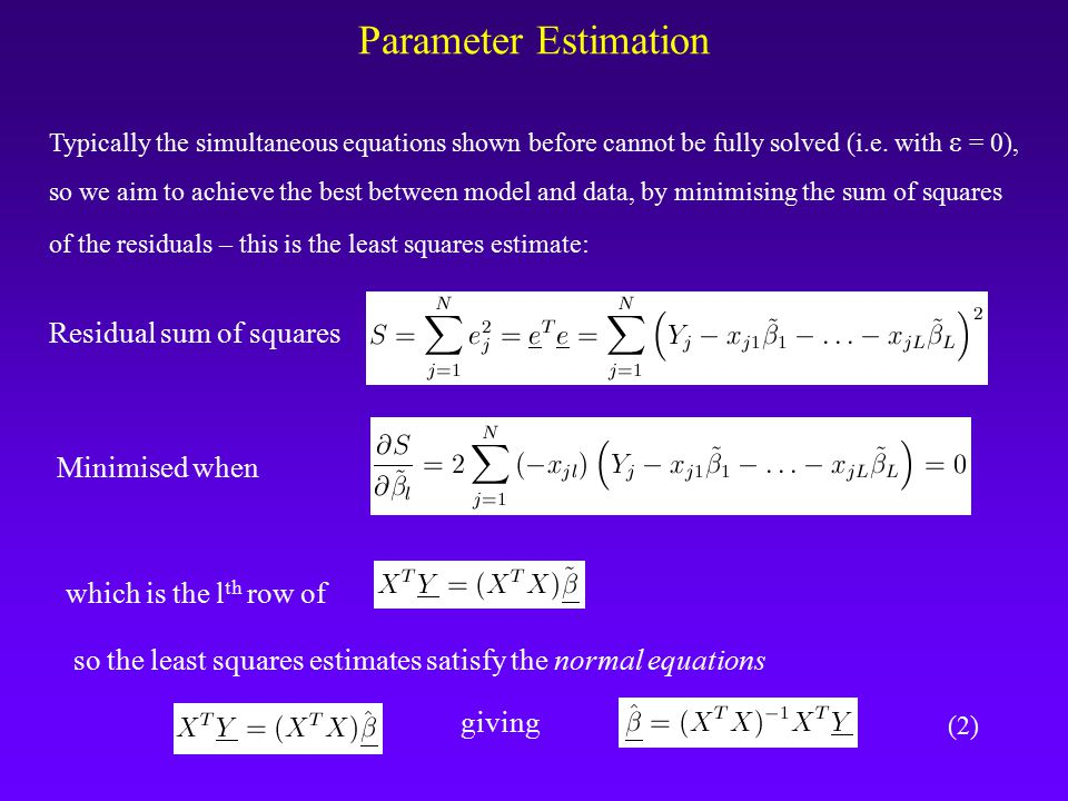 Parameter Estimation Typically the simultaneous equations shown before cannot be fully solved (i.e.