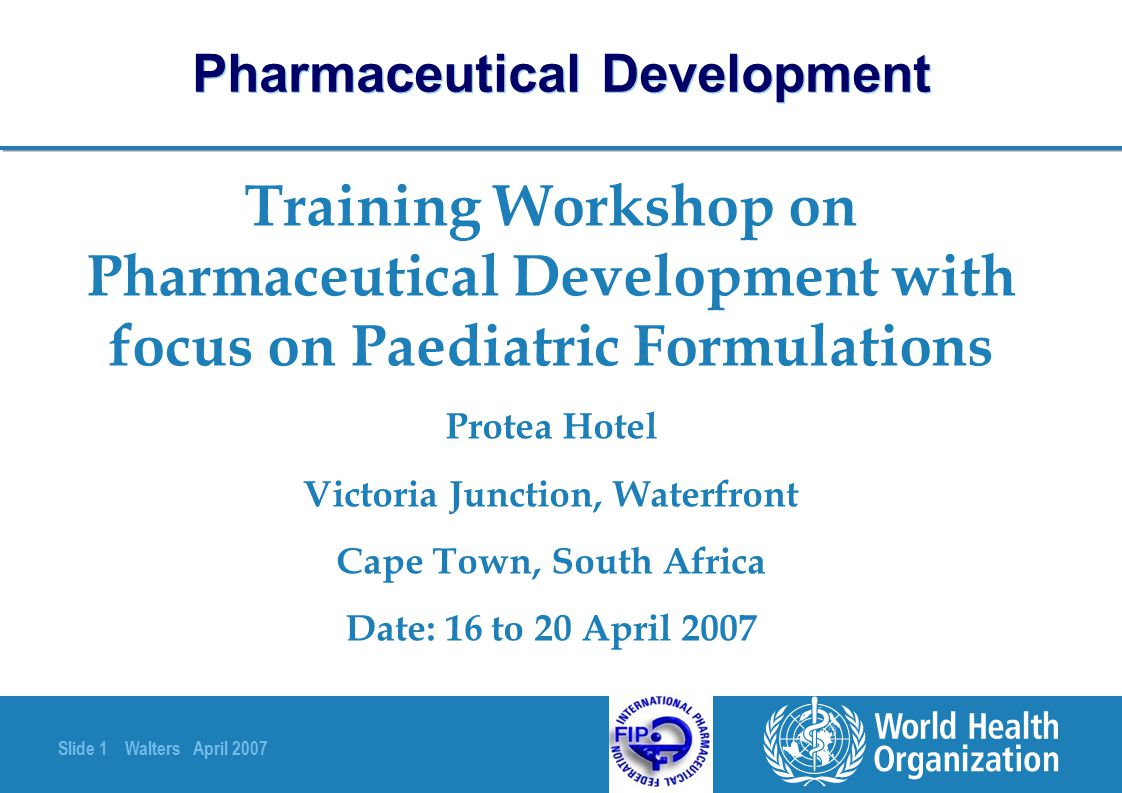 Slide 2 Walters April 2007 Pharmaceutical Development Stability testing of Finished Pharmaceutical Products (FPPs) Presenter: Susan Walters Email: susanw@netspeed.com.aususanw@netspeed.com.au Fax: (61) 2 6281 6948 (email is preferred)