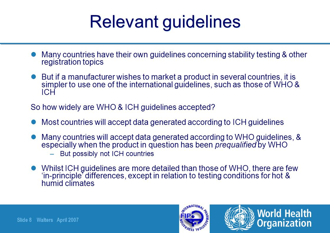 Slide 39 Walters April 2007 Appropriate tests for stability studies - 2 -Quantitate degradation products if possible, even if the assay is specific for the API -But can be difficult to quantitate impurities if there are no reference standards & relative response factors are unknown → semiquantitative estimates -Regulatory authorities usually expect an approximate mass balance -Appropriate physical tests vary with dosage form.