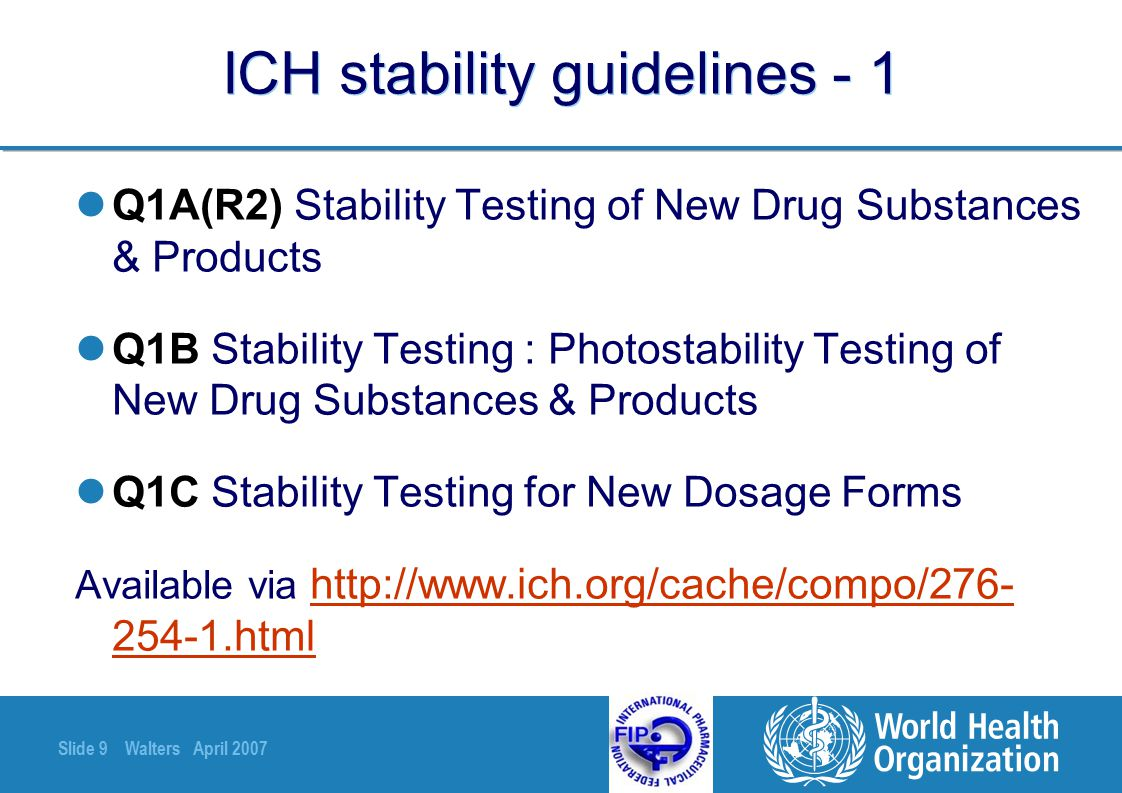 Slide 40 Walters April 2007 For all stability studies Validate the analytical methodology.