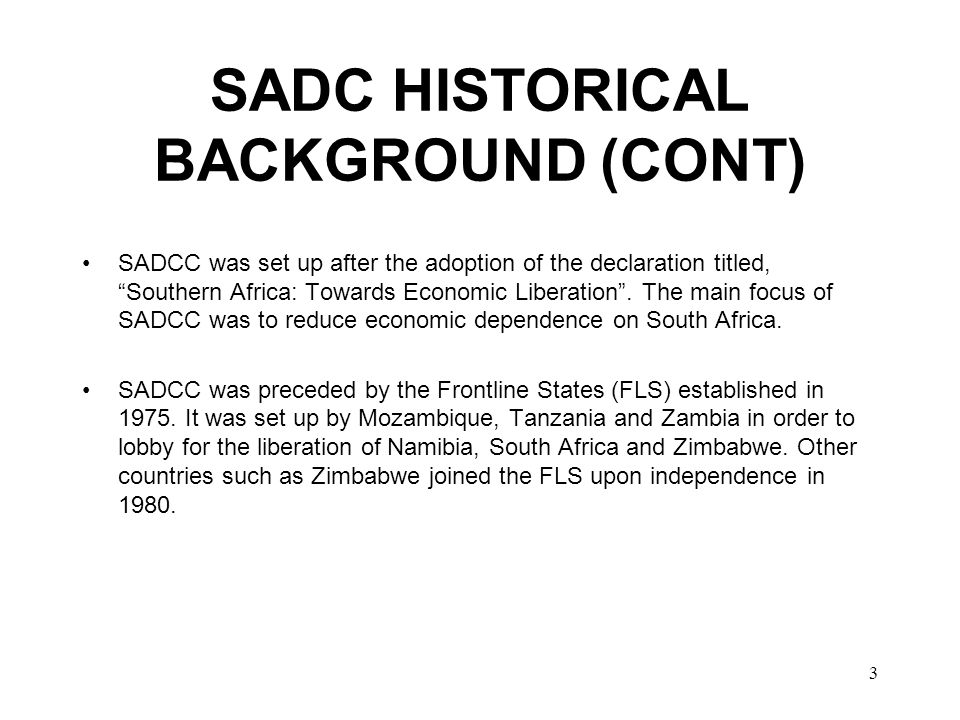 4 SADC OPDSC In the restructuring of SADCC to SADC, a new structure called the SADC Organ on Politics, Defence and Security Co - operation (OPDSC) was approved by the SADC Heads of State and Government (HoSG) Summit, in Blantyre, Malawi, in 2001.