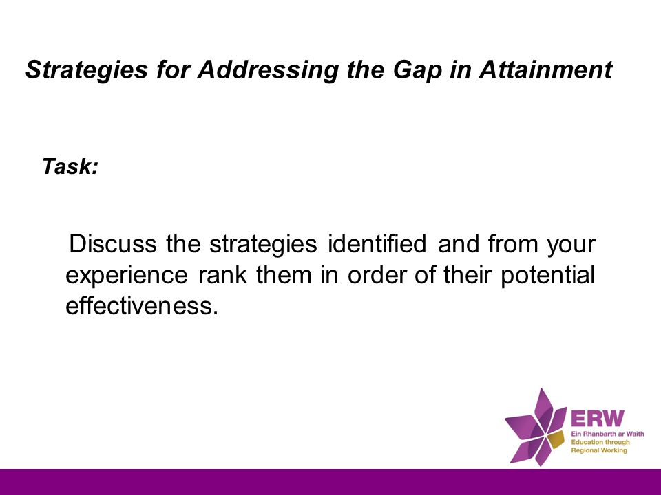Strategies for Addressing the Gap in Attainment Task: Discuss the strategies identified and from your experience rank them in order of their potential