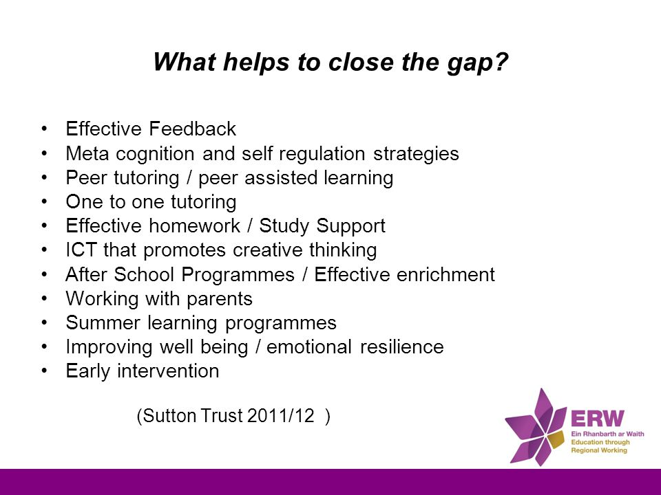 What helps to close the gap? Effective Feedback Meta cognition and self regulation strategies Peer tutoring / peer assisted learning One to one tutori