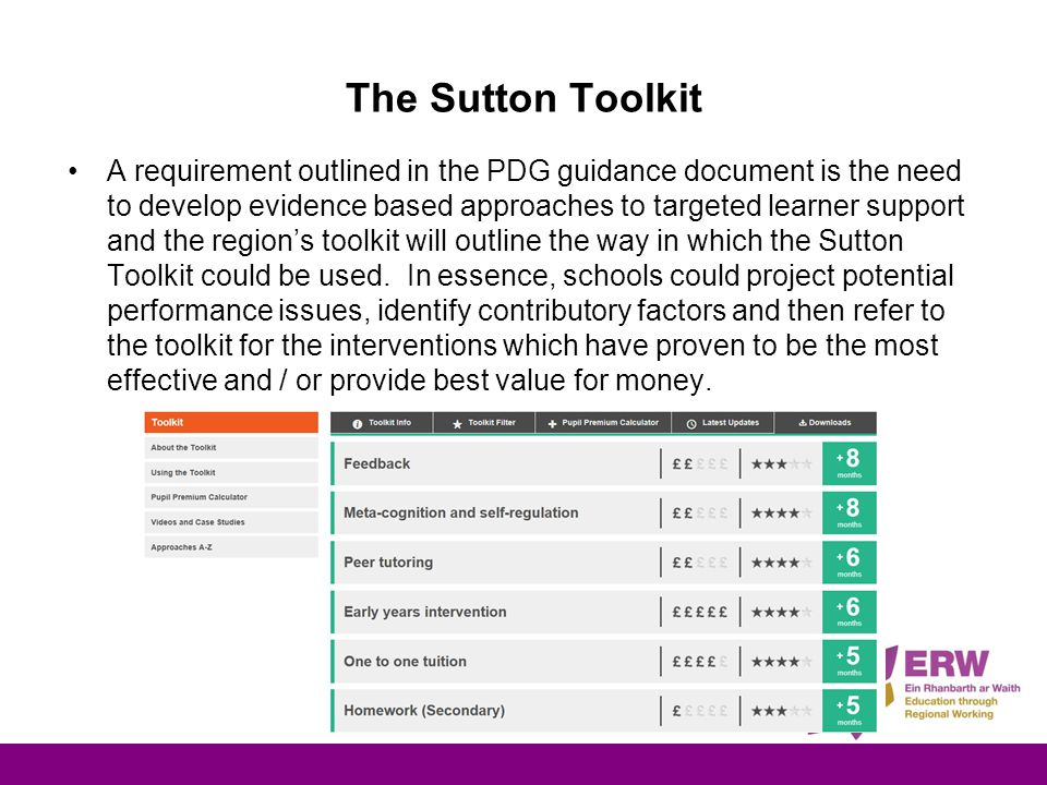 The Sutton Toolkit A requirement outlined in the PDG guidance document is the need to develop evidence based approaches to targeted learner support and the region's toolkit will outline the way in which the Sutton Toolkit could be used.