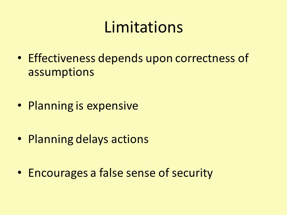 Limitations Effectiveness depends upon correctness of assumptions Planning is expensive Planning delays actions Encourages a false sense of security