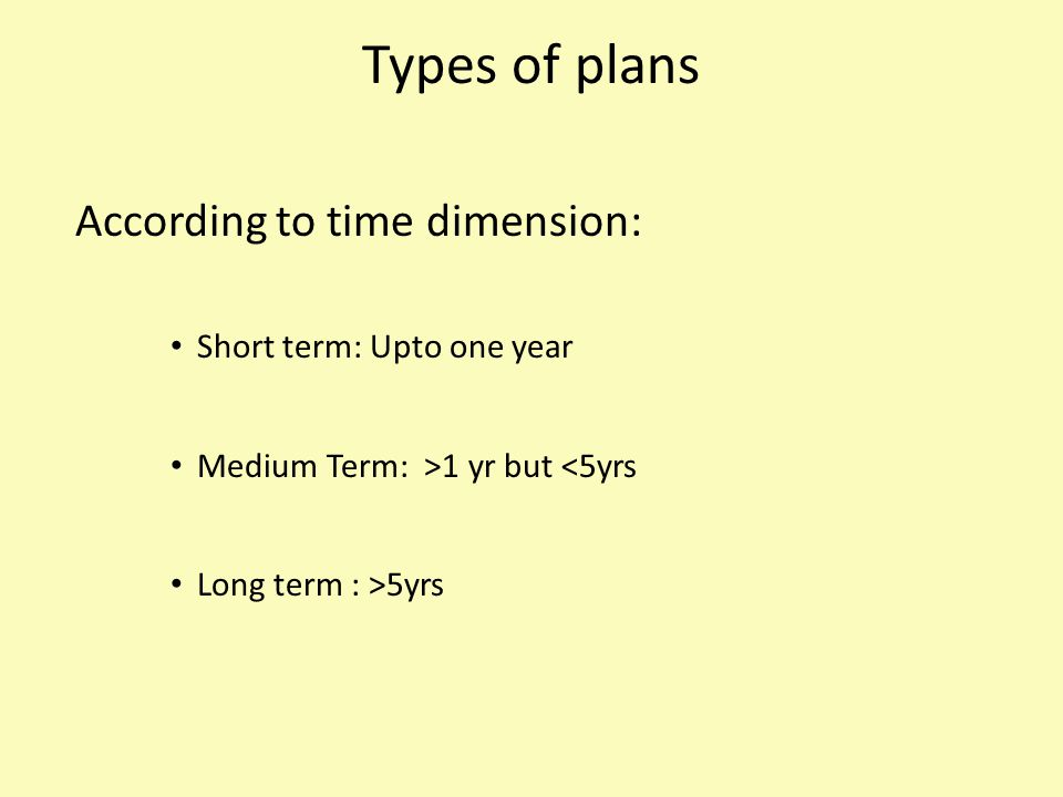 Types of plans According to time dimension: Short term: Upto one year Medium Term: >1 yr but <5yrs Long term : >5yrs