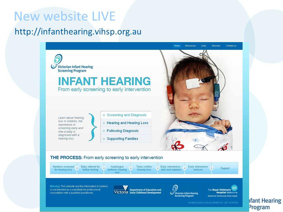 New website LIVE http://infanthearing.vihsp.org.au