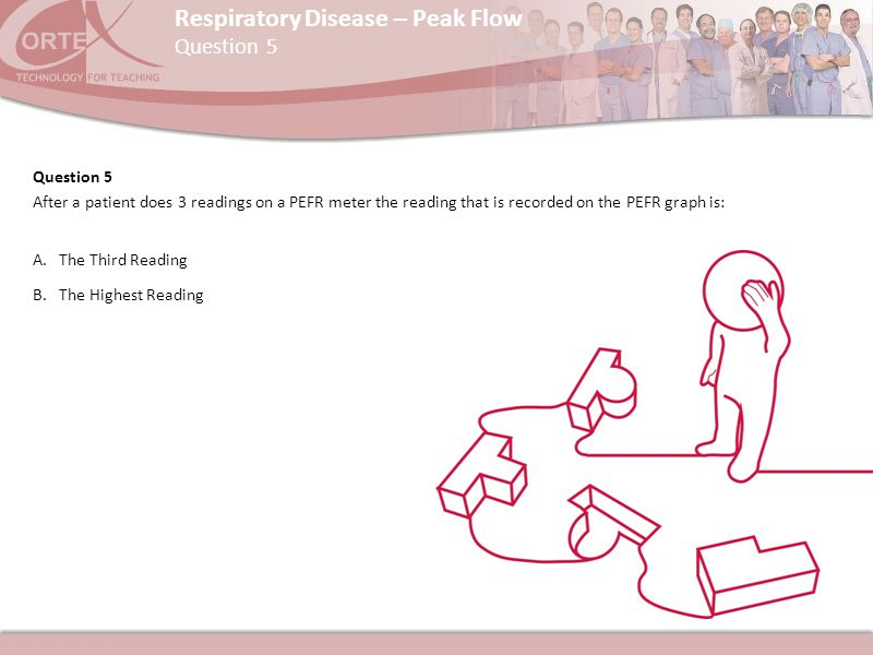 Respiratory Disease – Peak Flow Question 5 After a patient does 3 readings on a PEFR meter the reading that is recorded on the PEFR graph is: A.The Th