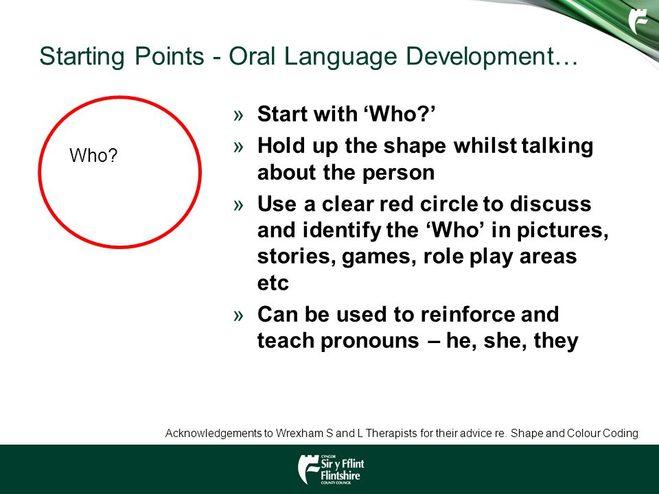 Starting Points - Oral Language Development… Who? »Start with 'Who?' »Hold up the shape whilst talking about the person »Use a clear red circle to dis