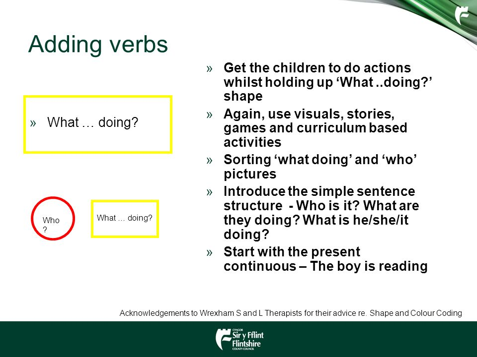 Adding verbs »What … doing? »Get the children to do actions whilst holding up 'What..doing?' shape »Again, use visuals, stories, games and curriculum