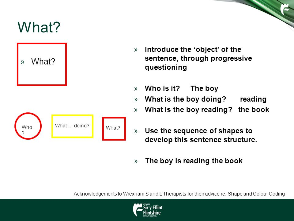 What? »What? »Introduce the 'object' of the sentence, through progressive questioning »Who is it? The boy »What is the boy doing? reading »What is the