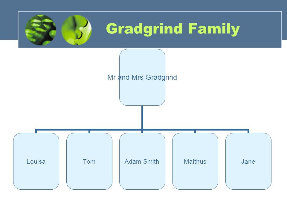 Gradgrind Family Mr and Mrs Gradgrind LouisaTom Adam Smith MalthusJane