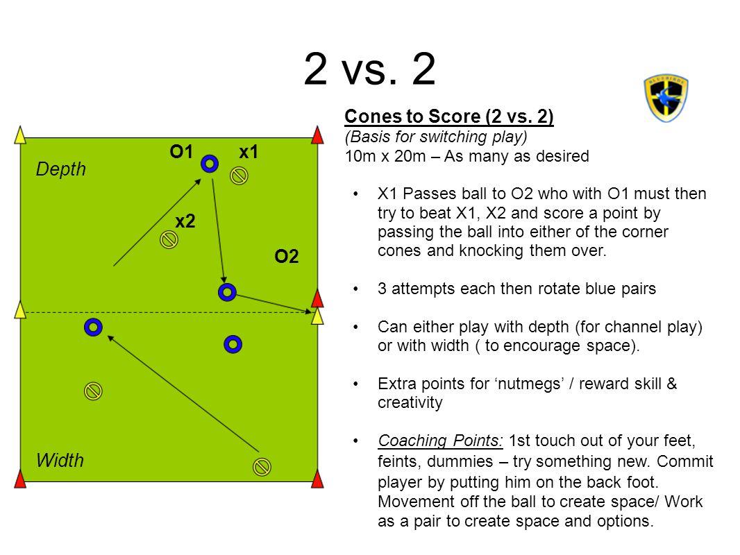 2 vs.2 x1 x2 O2 O1 Depth Width Cones to Score (2 vs.