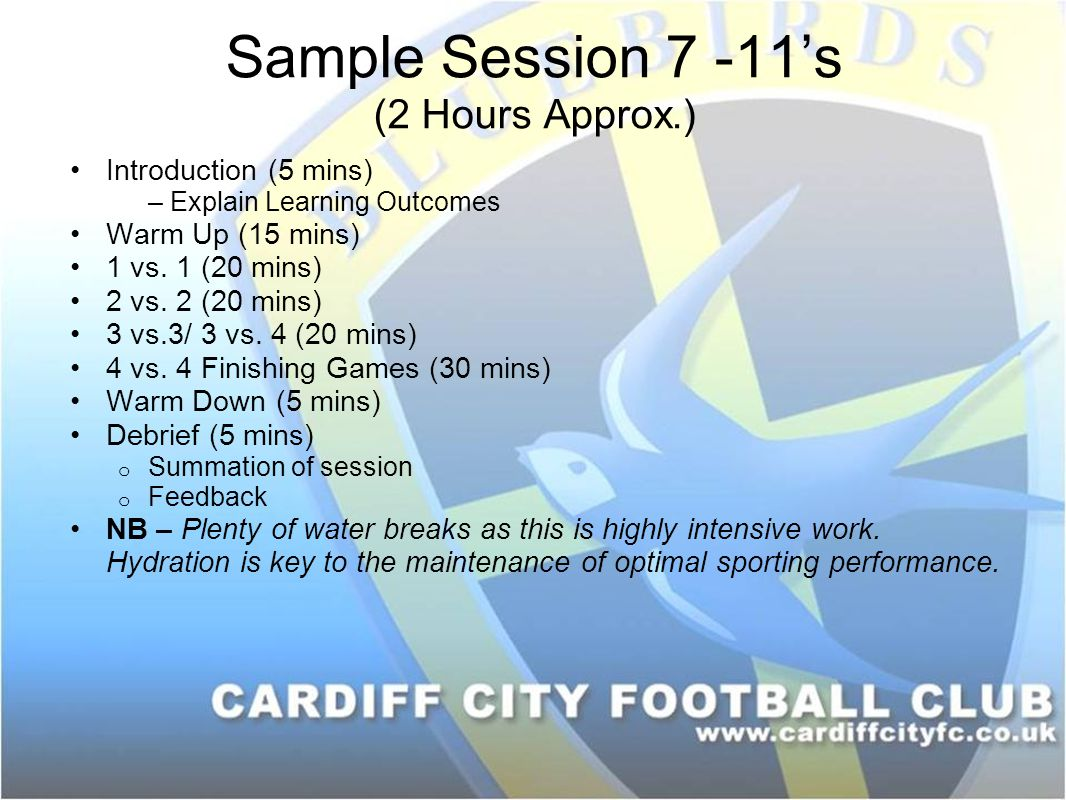 Sample Session 7 -11's (2 Hours Approx.) Introduction (5 mins) – Explain Learning Outcomes Warm Up (15 mins) 1 vs.