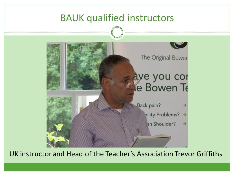BAUK qualified instructors UK instructor and Head of the Teacher's Association Trevor Griffiths