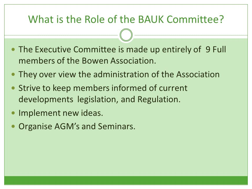 What is the Role of the BAUK Committee.