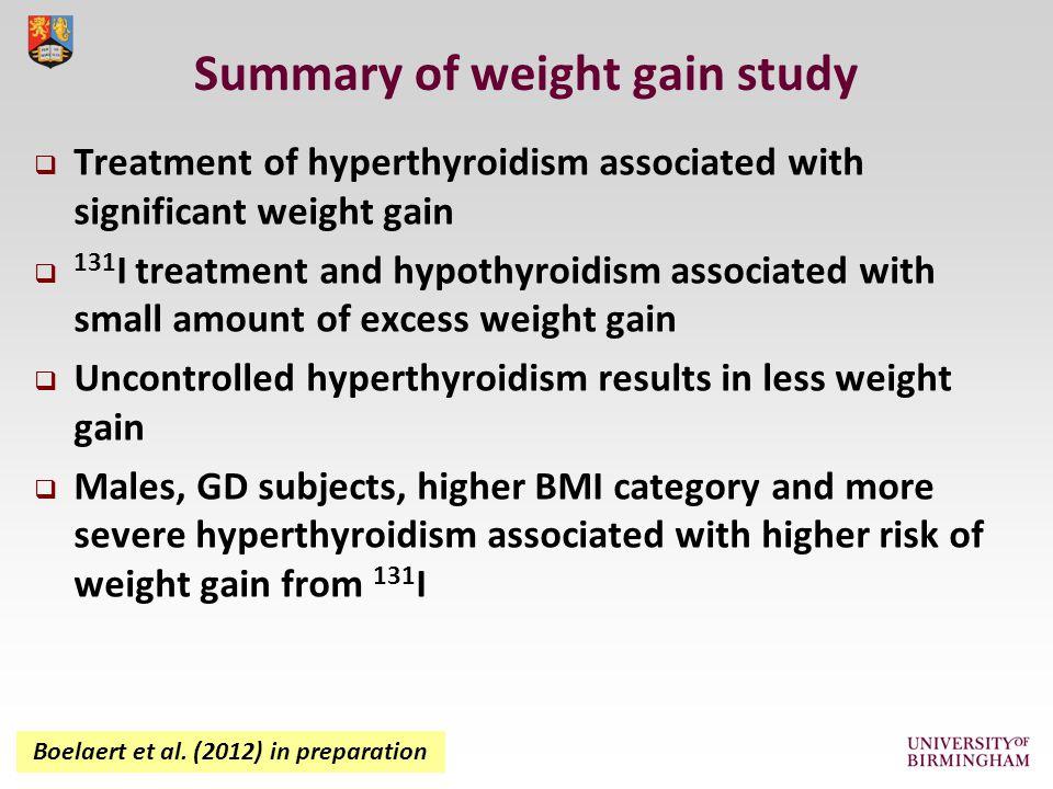 Summary of weight gain study Boelaert et al.