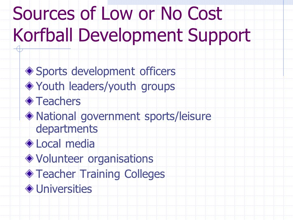 Sources of Low or No Cost Korfball Development Support Sports development officers Youth leaders/youth groups Teachers National government sports/leisure departments Local media Volunteer organisations Teacher Training Colleges Universities