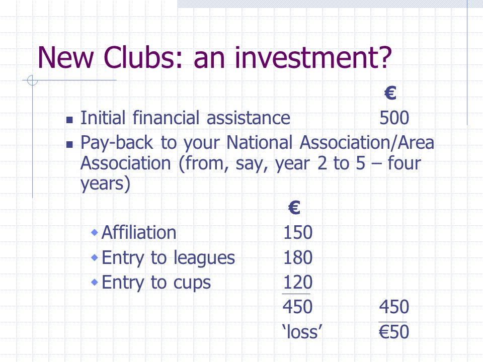 New Clubs: an investment.