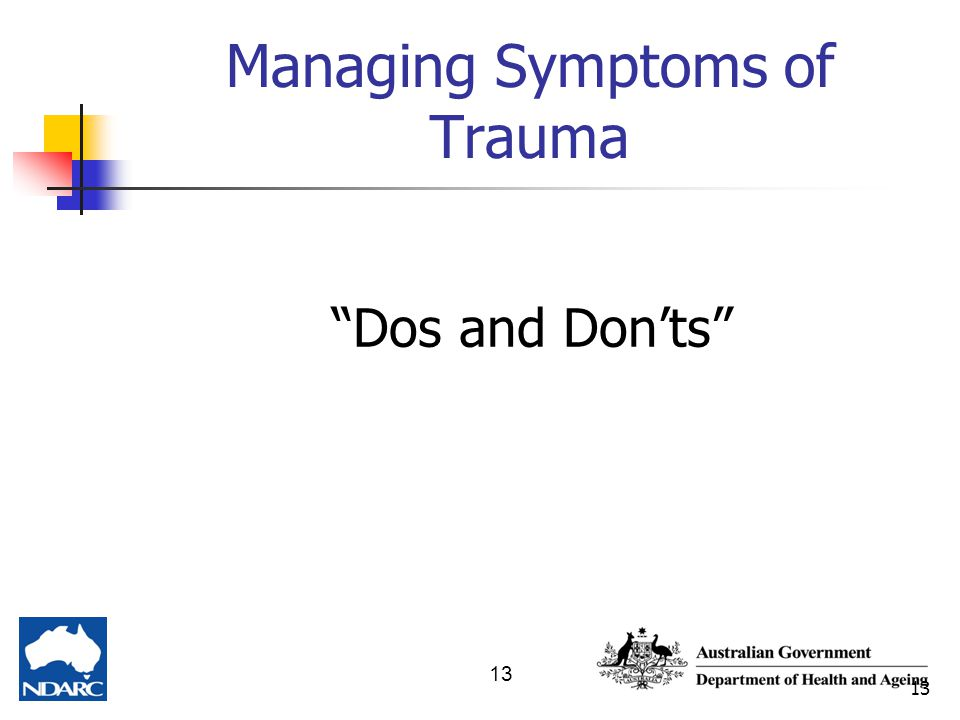 "13 Managing Symptoms of Trauma ""Dos and Don'ts"""