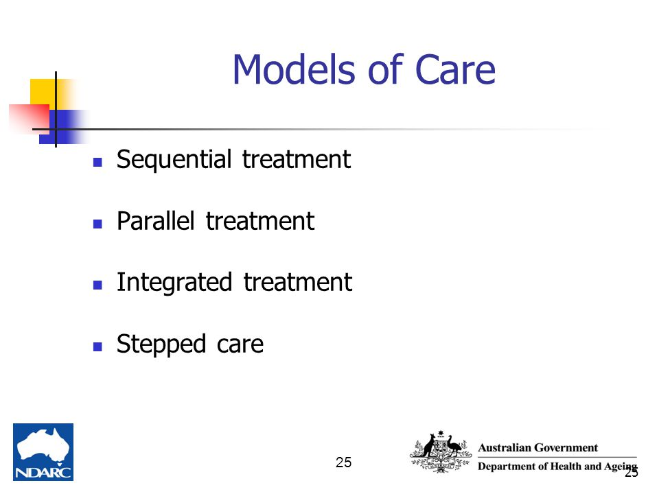 25 Models of Care Sequential treatment Parallel treatment Integrated treatment Stepped care