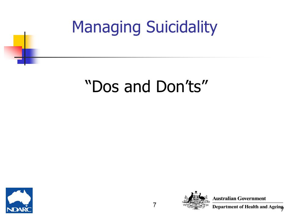 "7 7 Managing Suicidality ""Dos and Don'ts"""