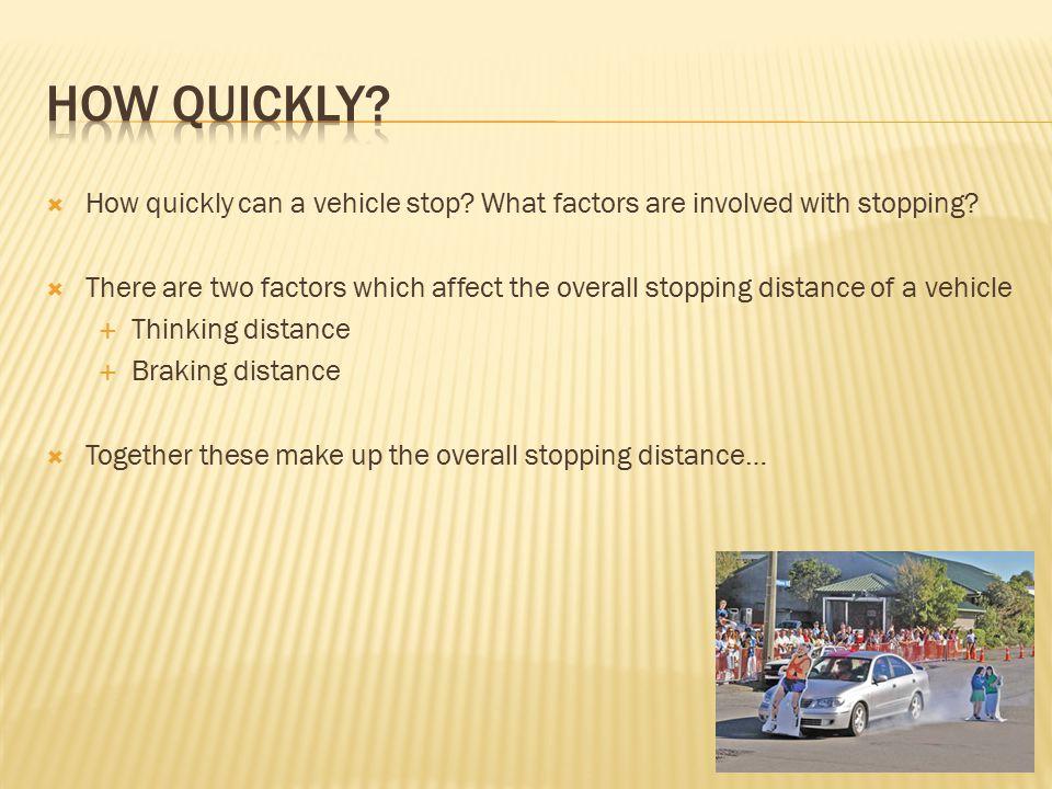  Thinking distance – distance travelled before brakes are applied  Braking distance – distance travelled whilst brakes are applied Stopping distance = thinking distance + braking distance Stopping distance BrakingThinking