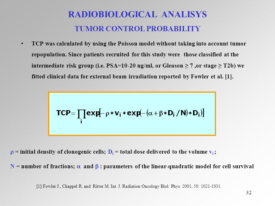 32 RADIOBIOLOGICAL ANALISYS TUMOR CONTROL PROBABILITY TCP was calculated by using the Poisson model without taking into account tumor repopulation.