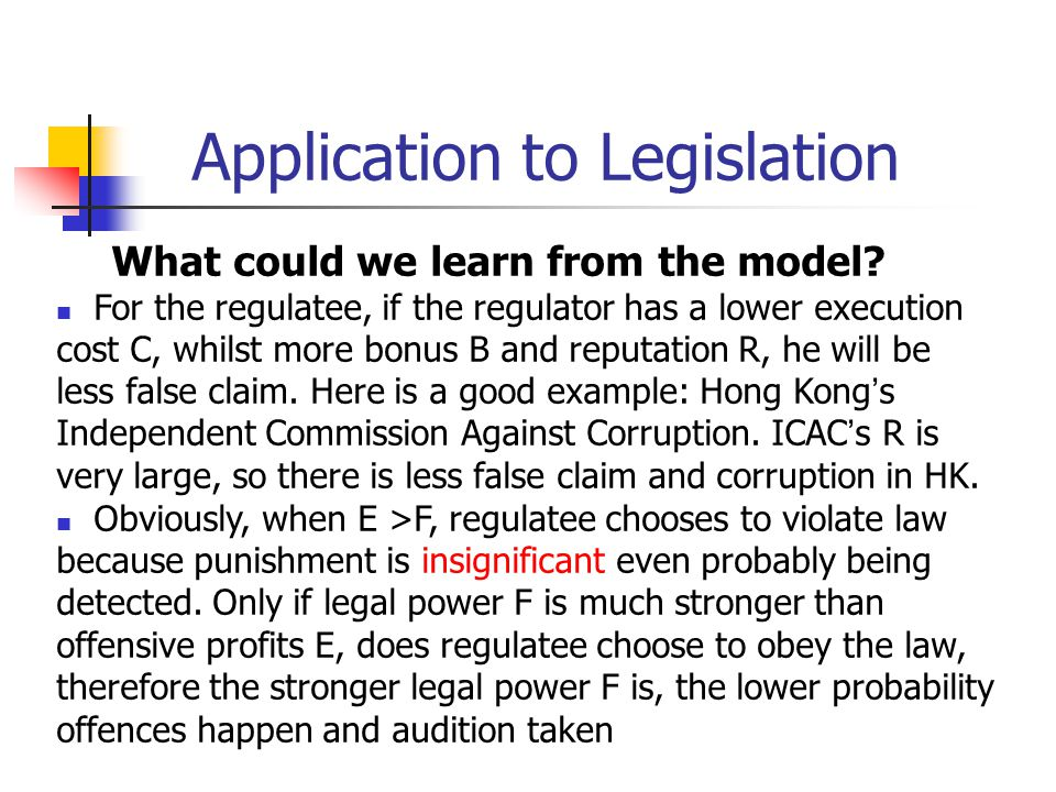 Application to Legislation What could we learn from the model? For the regulatee, if the regulator has a lower execution cost C, whilst more bonus B a