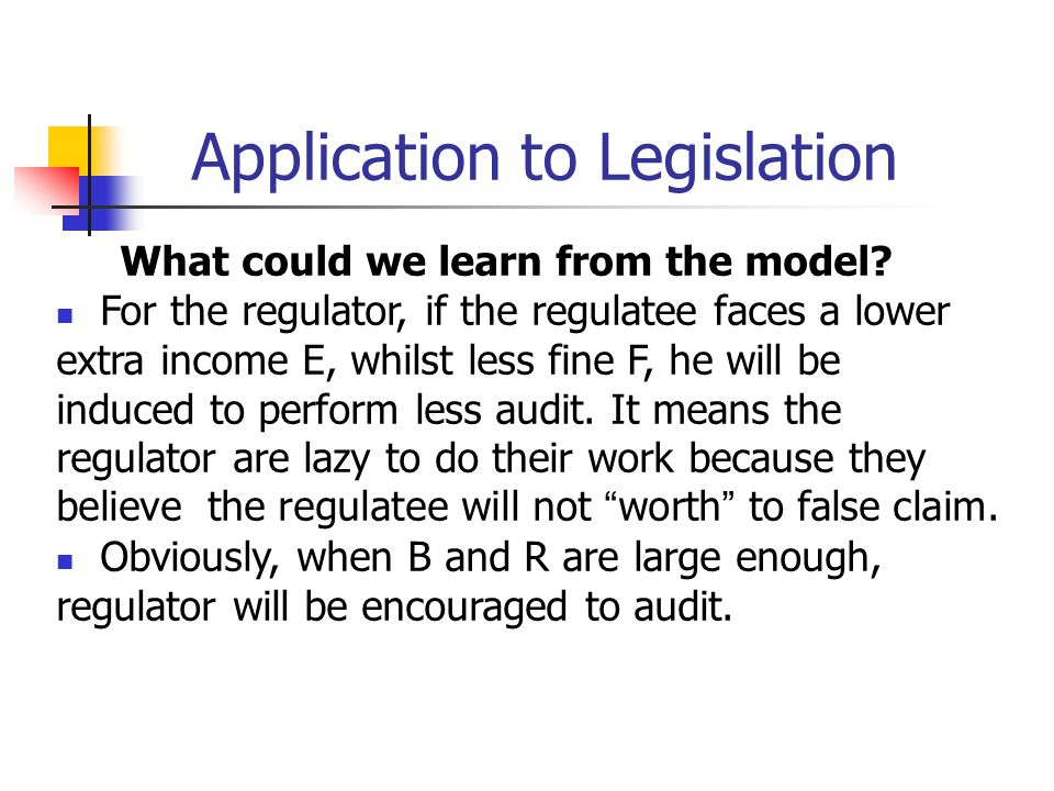 Application to Legislation What could we learn from the model? For the regulator, if the regulatee faces a lower extra income E, whilst less fine F, h