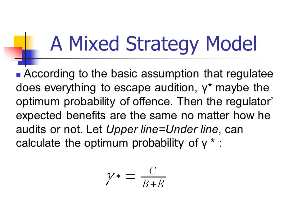 A Mixed Strategy Model According to the basic assumption that regulatee does everything to escape audition, γ* maybe the optimum probability of offence.