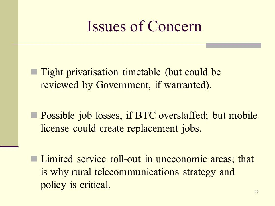 20 Issues of Concern Tight privatisation timetable (but could be reviewed by Government, if warranted).