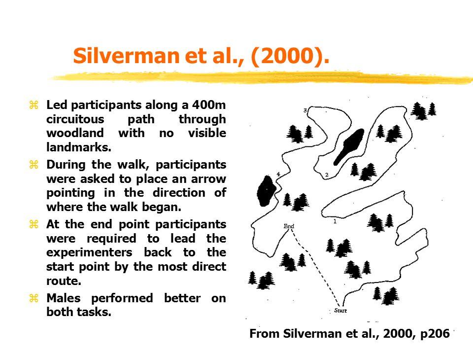 Silverman et al., (2000). zLed participants along a 400m circuitous path through woodland with no visible landmarks. zDuring the walk, participants we