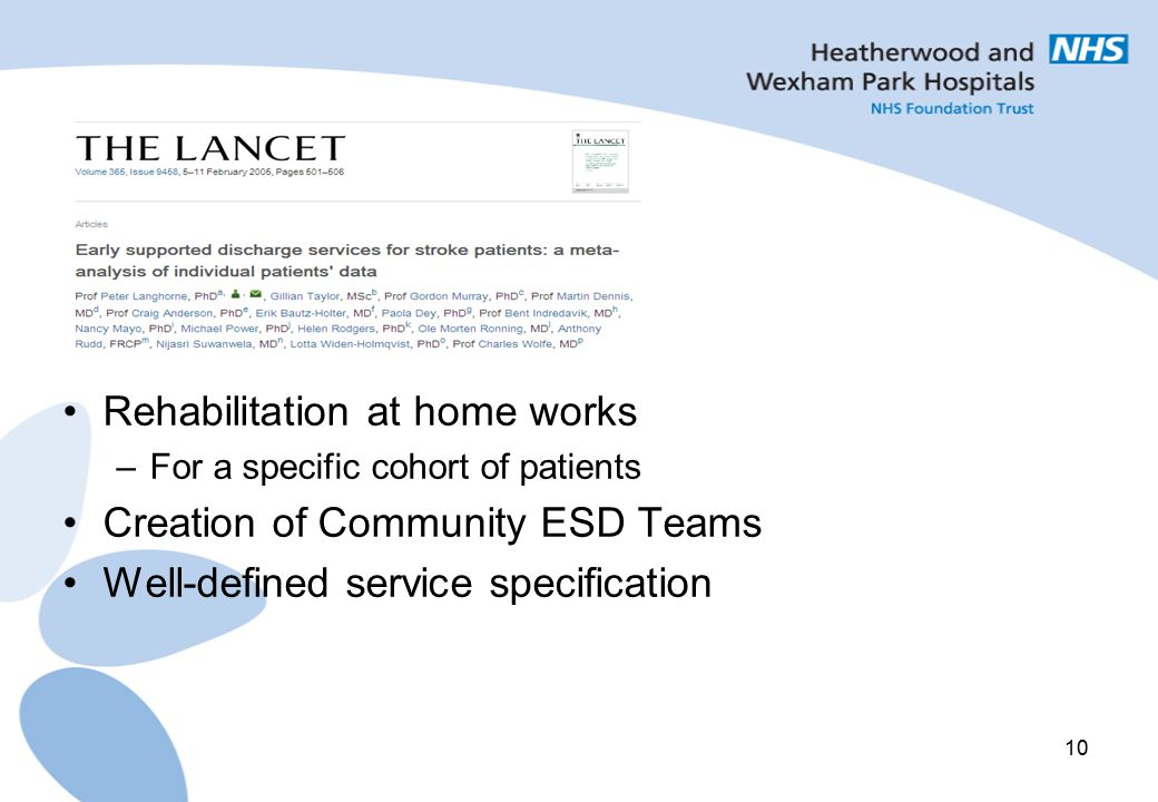 10 Rehabilitation at home works –For a specific cohort of patients Creation of Community ESD Teams Well-defined service specification