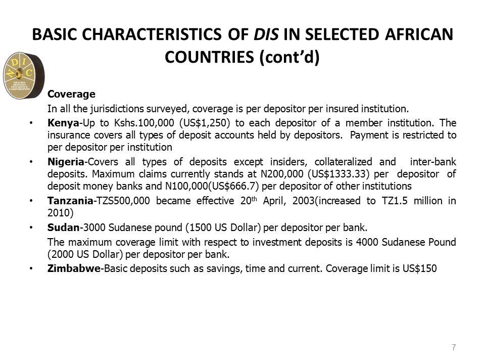 BASIC CHARACTERISTICS OF DIS IN SELECTED AFRICAN COUNTRIES (cont'd) Coverage In all the jurisdictions surveyed, coverage is per depositor per insured