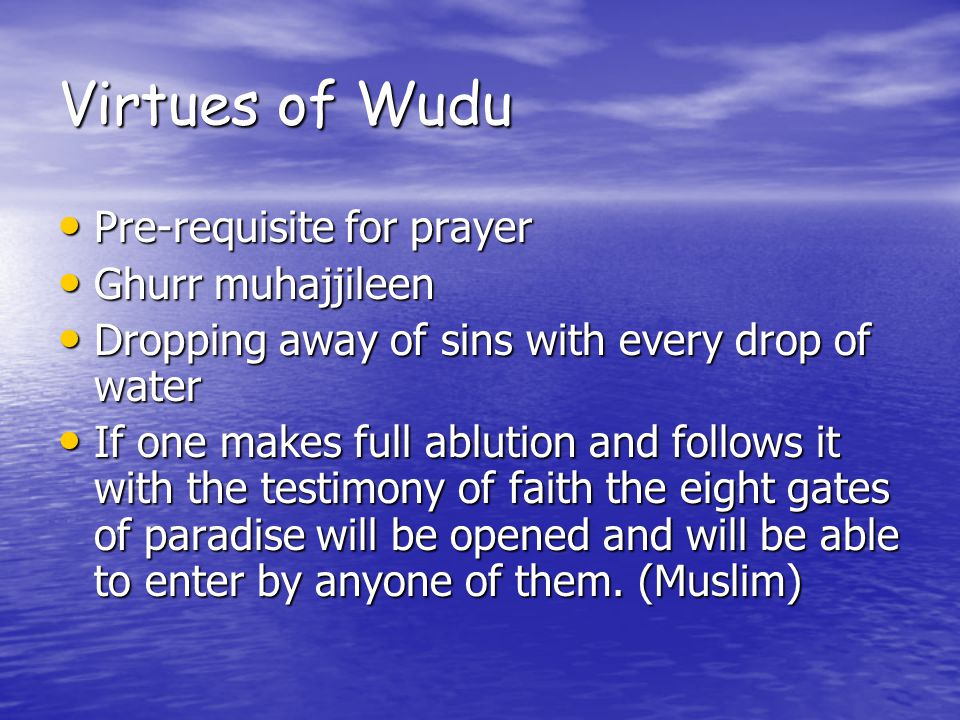 Virtues of Wudu Pre-requisite for prayer Pre-requisite for prayer Ghurr muhajjileen Ghurr muhajjileen Dropping away of sins with every drop of water Dropping away of sins with every drop of water If one makes full ablution and follows it with the testimony of faith the eight gates of paradise will be opened and will be able to enter by anyone of them.
