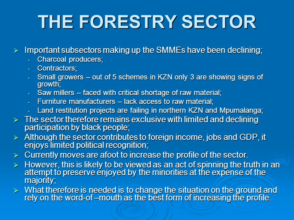 THE FORESTRY SECTOR  Important subsectors making up the SMMEs have been declining; Charcoal producers; Charcoal producers; Contractors; Contractors;