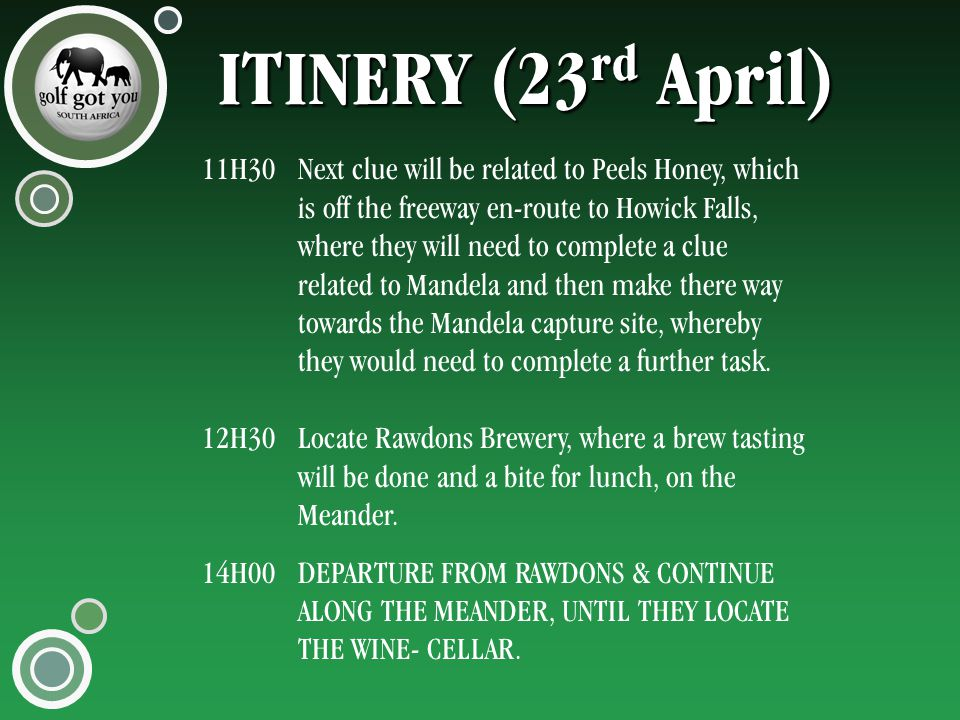 ITINERY (23 rd April) 11H30Next clue will be related to Peels Honey, which is off the freeway en-route to Howick Falls, where they will need to complete a clue related to Mandela and then make there way towards the Mandela capture site, whereby they would need to complete a further task.