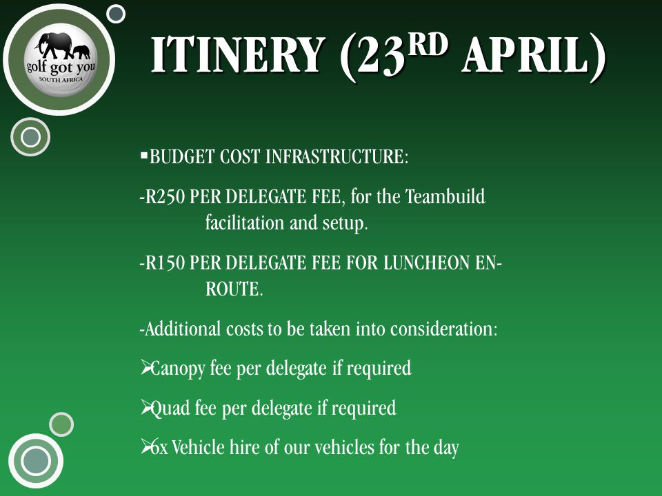 ITINERY (23 RD APRIL)  BUDGET COST INFRASTRUCTURE: -R250 PER DELEGATE FEE, for the Teambuild facilitation and setup.