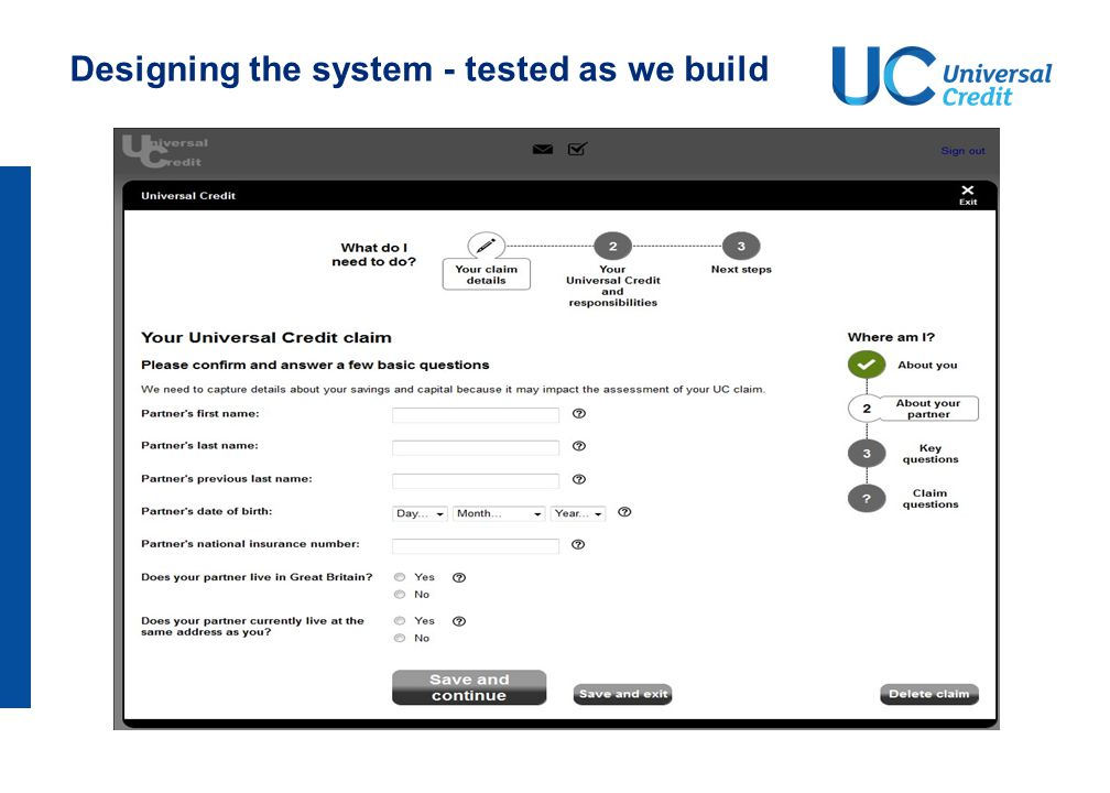 Designing the system - tested as we build