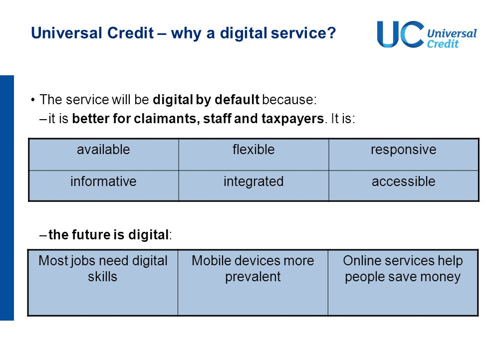 Universal Credit – why a digital service? The service will be digital by default because: –it is better for claimants, staff and taxpayers. It is: –th