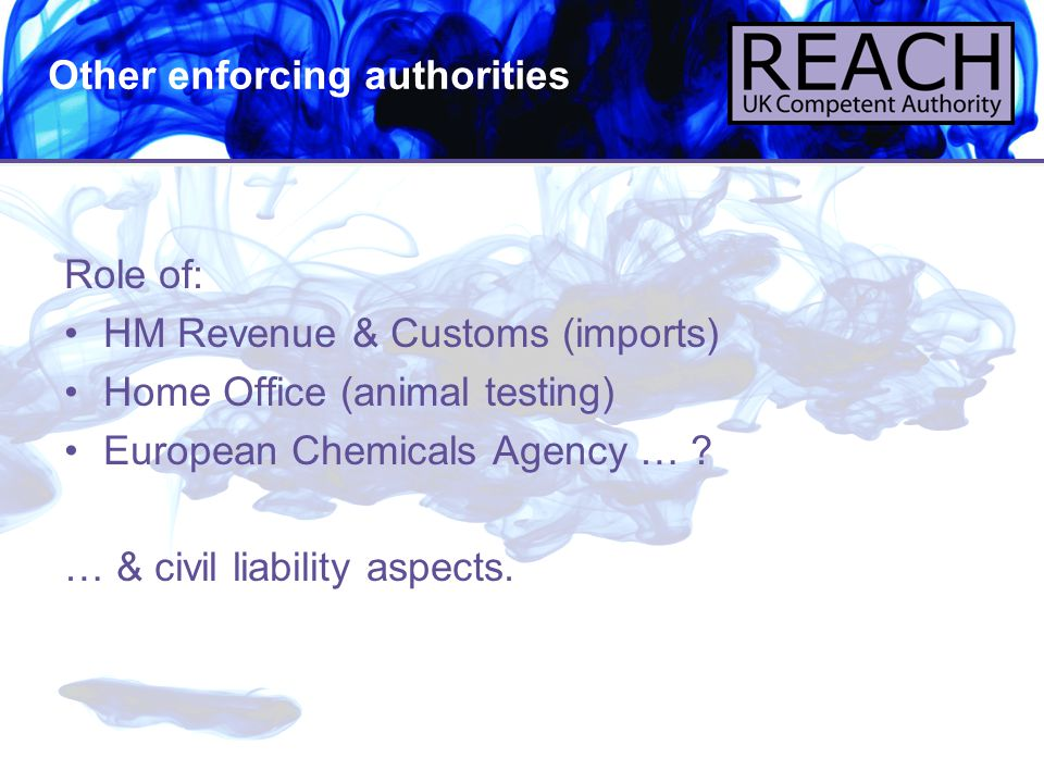 6 Role of: HM Revenue & Customs (imports) Home Office (animal testing) European Chemicals Agency … ? … & civil liability aspects. Other enforcing auth
